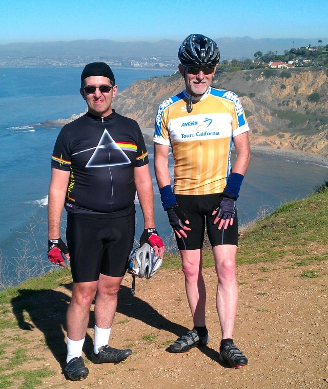 "Mario ""P Floyd"" Obejas and the Velobum at Bluff Cove overlooking Santa Monica Bay"